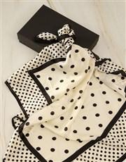 White And Black Polka Dot Silk Scarf Combo