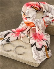 White With Pink Silk Scarf Combo