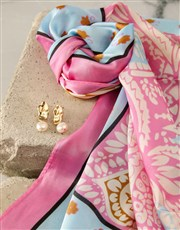 Pink And Blue Silk Scarf Combo