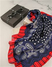 Red And Navy Polka Dot Silk Scarf Combo