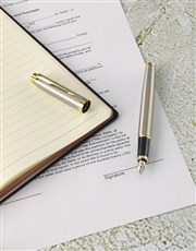 Parker Pen with Brown Leatherette Notebook