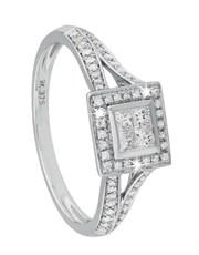 9KT White Gold Square Top Princess cut diamond spl