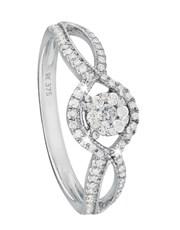 9KT White Gold Bow Shape Shank Diamond Ring, pave