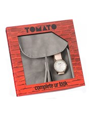 Tomato Round Dial Silver Ladies watch, with a ligh