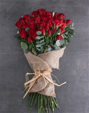 Layered 50 Red Rose Bouquet