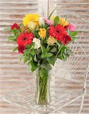 Gerbera and Rose Vase
