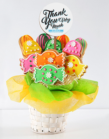 cookies-and-biscuits: Personalised Thank You Sweetie Cookie Bouquet!