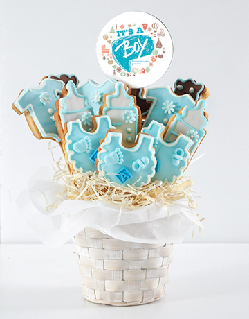 cookies-and-biscuits: Personalised Baby Boy Cookie Bouquet!