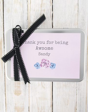 bakery: Personalised Floral Thank You For Being Cookie Tin!