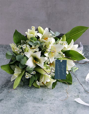 flowers: White Lily Funeral Sheaf!