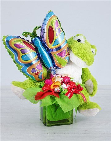 secretarys-day: Green Froggy Choc Star and Butterfly Balloon Vase!