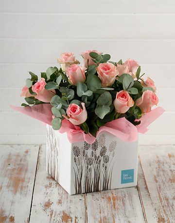 birthday: Pink Roses in Fountain Box!