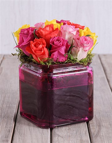 spring-day: Mixed Roses in a Pink Square Vase!