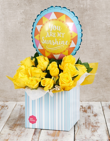 spring-day: My Sunshine Balloon and Yellow Rose Box!