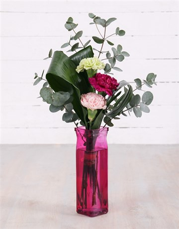 spring-day: Mixed Carnations in Straight Vase!