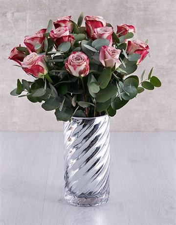Variegated Roses in Cylinder Twirl Vase!