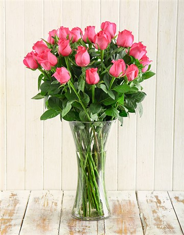 birthday: Cerise Roses in a Vase!