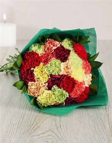flowers: Mixed Carnation in Green Wrapping!