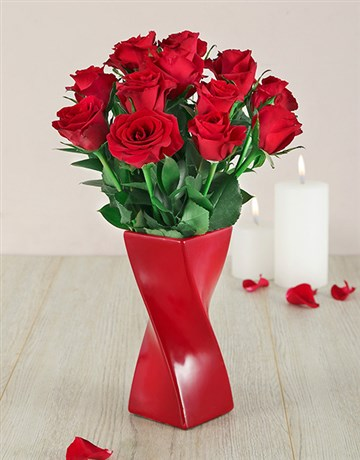 anniversary: Red Roses in a Red Twisty Vase!