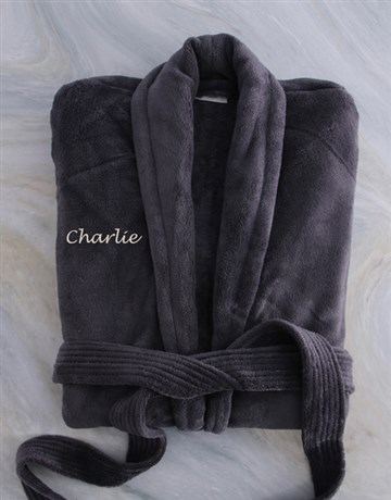 personalised: Personalised Charcoal Fleece Gown!