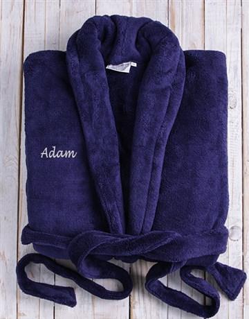 personalised: Personalised Dark Blue Fleece Gown!