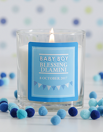 baby: Personalised Baby Boy Candle!