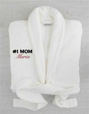 personalised: Personalised Number 1 Mom White Fleece Gown!