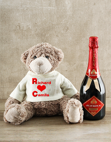 valentines-day: Large Personalised Teddy and JC le Roux Gift!