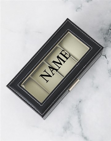 apparel: Personalised Black 4 Holder Watch Box!