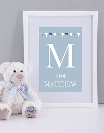 baby: Personalised Baby Boy Name and Initial Print!