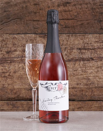 fine-alcohol: Personalised Vintage Stamp Rose Bubbly!