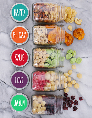 gourmet: Personalised Bday Fruit n Nut Jar Hamper!