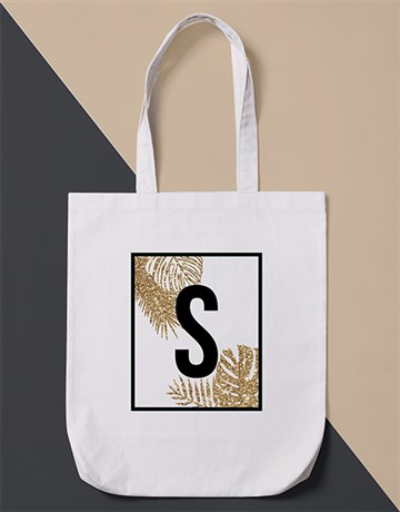 christmas: Personalised Initial Leaf  Tote Bag!