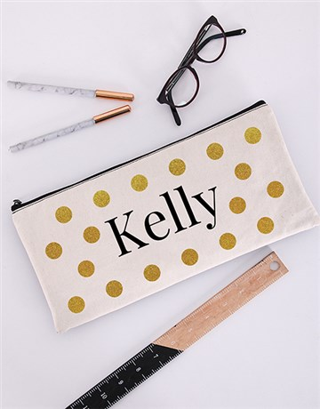 personalised: Personalised Gold Dot Pencil Bag!
