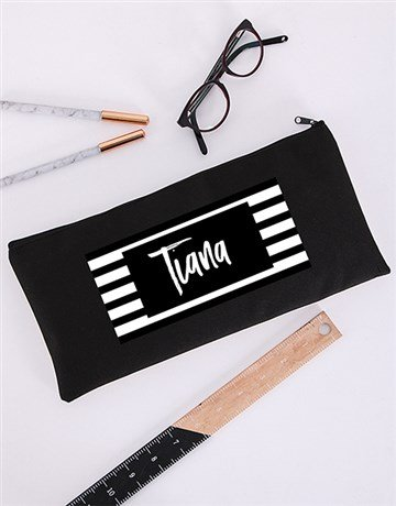 personalised: Personalised Striped Pencil Bag!