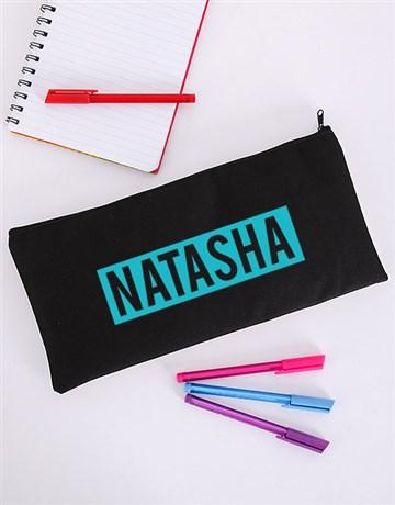 personalised: Personalised Blue Name Pencil Bag!