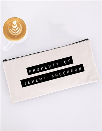personalised: Personalised Property Of Pencil Bag!