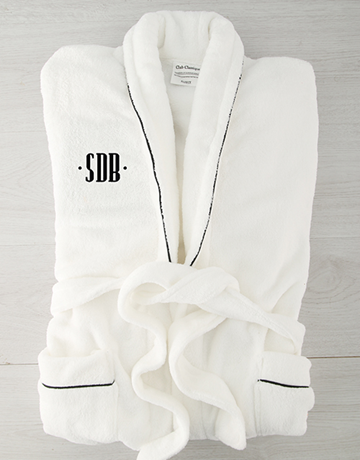personalised: Personalised Dot Monogram Fleece Gown with Piping!