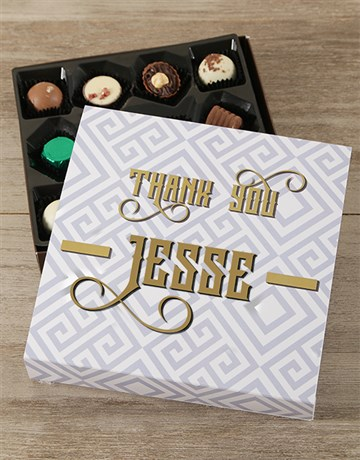 chocolate: Personalised Golden Thank You Choc Tray!