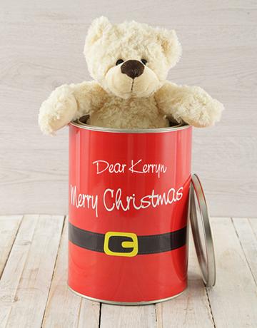 personalised: Personalised Christmas Suit Teddy Tin!