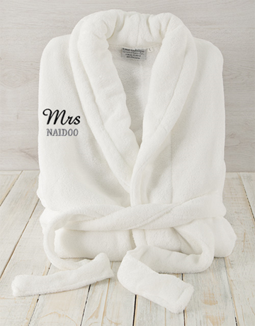 personalised: Personalised Mrs White Fleece Gown!