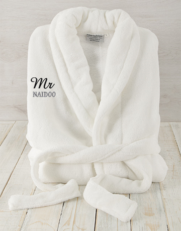 personalised: Personalised Mr White Fleece Gown!
