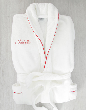 personalised: Personalised White Gown with Red Piping!