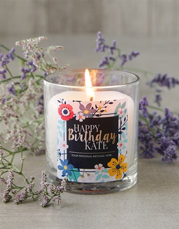 personalised: Personalised Floral Happy Birthday Candle!
