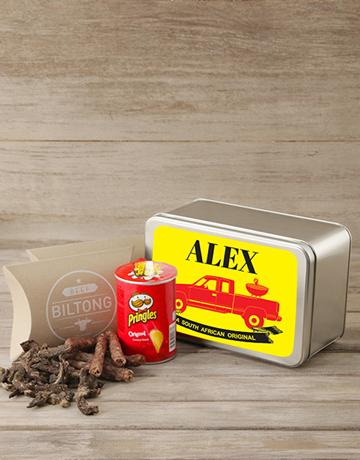 personalised: Personalised Biltong & Pringles Tin!