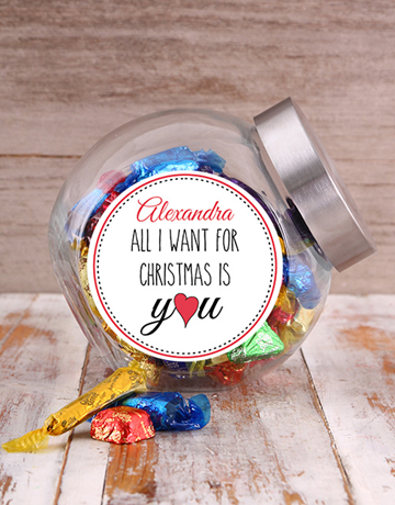 personalised: Personalised All I Want For Christmas Candy Jar!