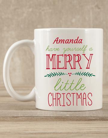 personalised: Personalised Merry Little Christmas Mug Gift!