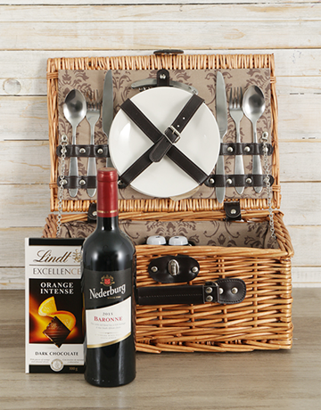 valentines-day: Wine and Lindt Picnic Basket!