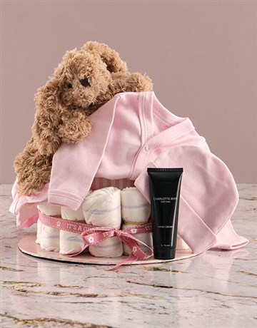baby: Some Bunny Loves Mommy and I Pink Nappy Cake!