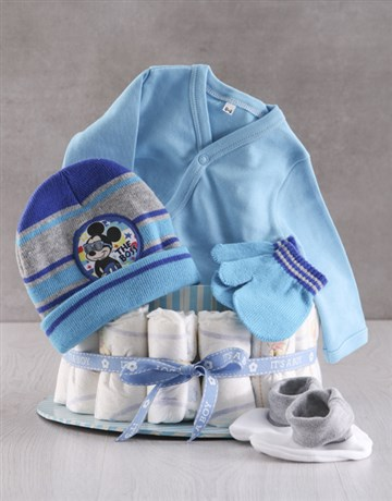baby: Winter With Mickey Mouse Nappy Cake!